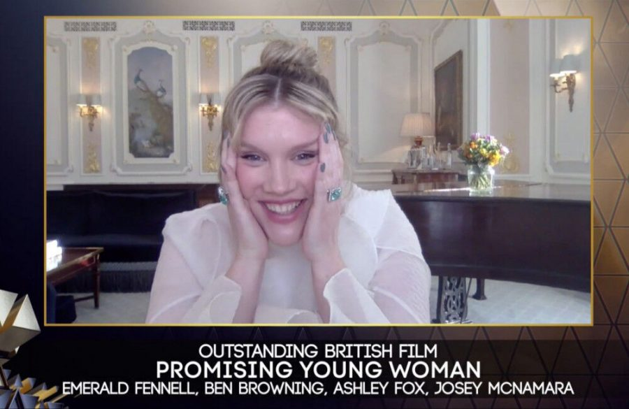 Emerald Fennell celebrates Promising Young Woman win at BAFTAs
