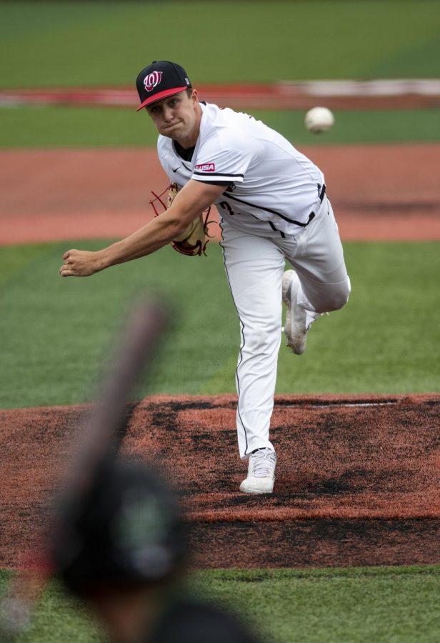 WKU pitcher Devyn Terbrak (43) pitching during against Marshall at Nick Denes Field on Apr. 10, 2021.