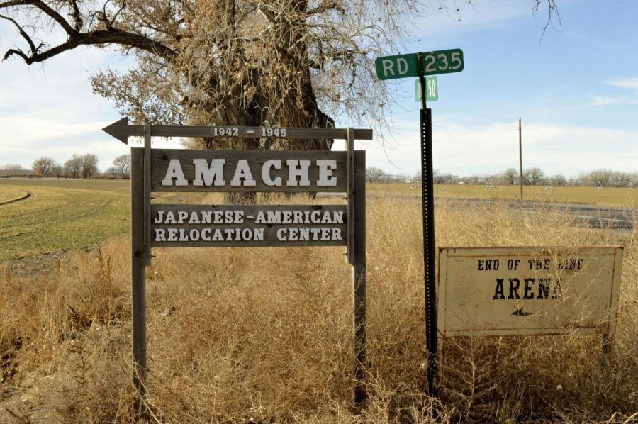 This Jan. 18, 2015, file photo shows a sign at the entrance to Camp Amache, the site of a former World War II-era Japanese-American internment camp in Granada, Colo.