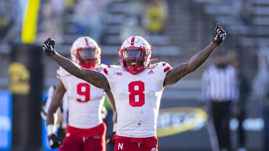 Nebraska's Deontai Williams (8) and Marquel Dismuke (9) were two of the Huskers' four leading tacklers in 2020.