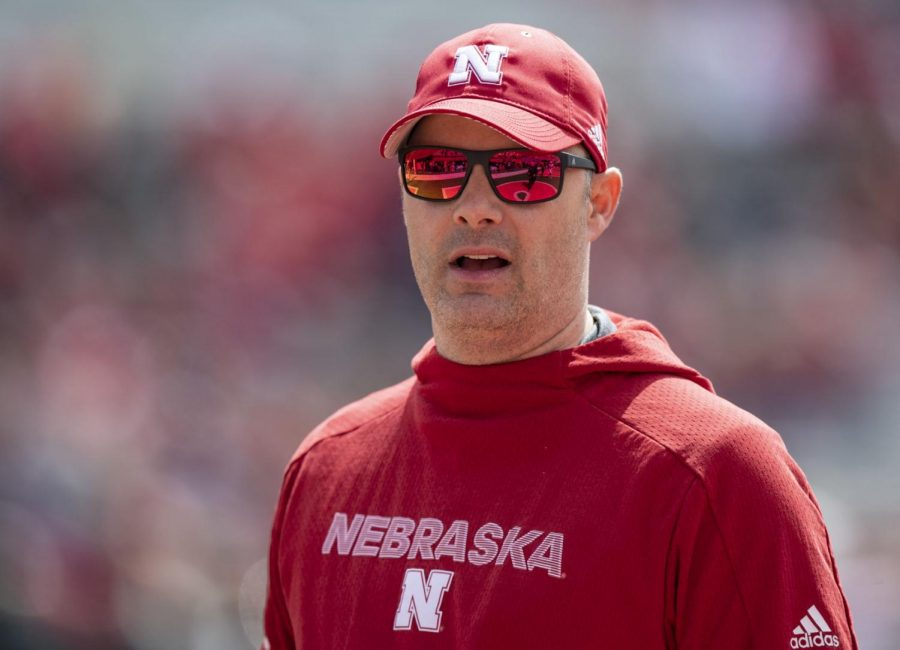 Nebraska running backs coach Ryan Held watches action during the Red-White Spring Game in April of 2019 at Memorial Stadium.