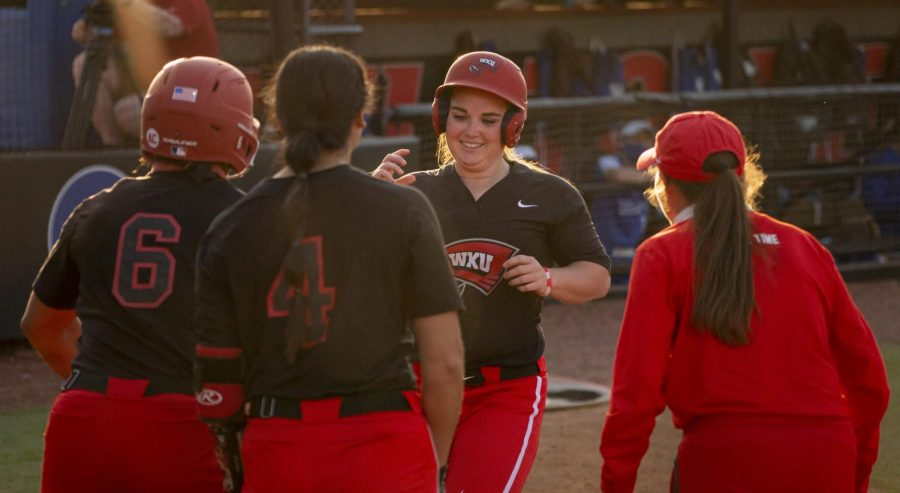 WKU outfielder, Paige Carter (26) led the game off with a homerun during the game against Kentucky on Wednesday, March 24, 2021.