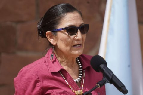 U.S. Interior Secretary Deb Haaland speaks during a news conference following a visit to Bears Ears National Monument Thursday, April 8, 2021, in Blanding, Utah.