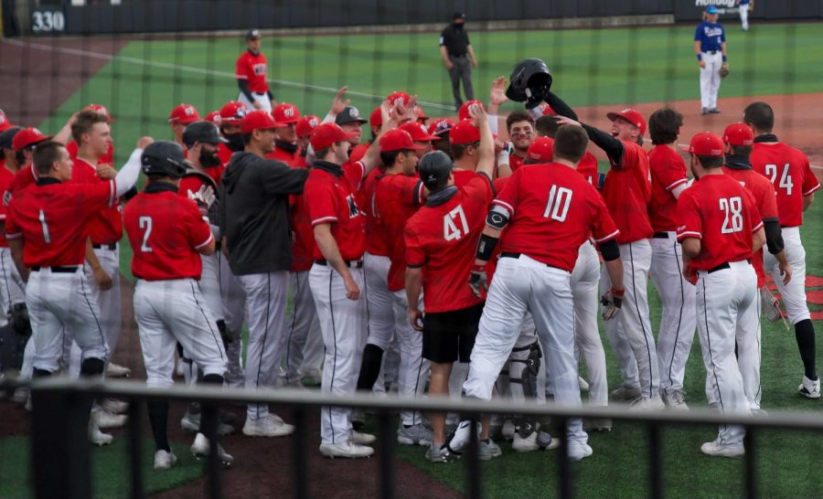 WKU celebrating Jackson Gray's fourth homerun of the season. The Hilltoppers split its series against Middle Tennessee on April 18, 2021.