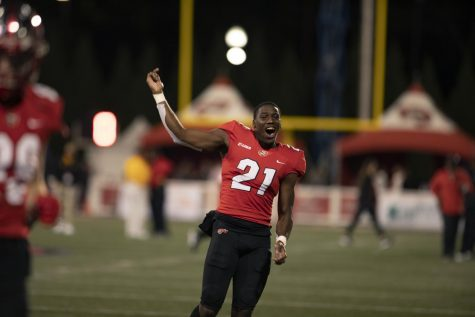 Jeremiah Fails (21) celebrates the Western Kentucky University Hilltoppers win on Nov. 14, 2020. The Hilltoppers defeated the visiting Southern Mississippi Golden Eagles 10-7.