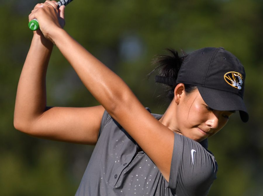 Jessica Yuen reaches the top of her backswing during practice Aug. 28, 2018, at The Club at Old Hawthorne in Columbia. Yuen is leading the Tigers in scoring after Day 1 of the SEC Championship.