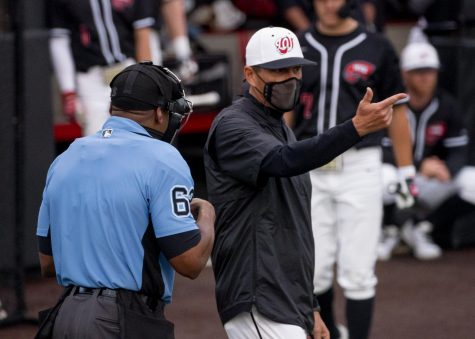 WKU head coach John Pawlowski argues a call during the game against Middle Tennessee on Friday, April 16, 2021.