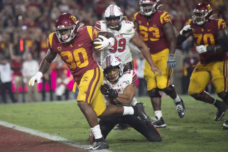Markese Stepp, who transferred to Nebraska, scores a touchdown as a member of Southern California in September 2019 in Los Angeles. Could he make an immediate impact with the Huskers?