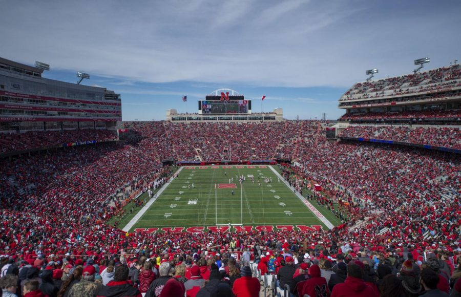 Fans pack Memorial Stadium during the Red-White Spring Game in April 2019. The attendance figure for the game was 85,946.