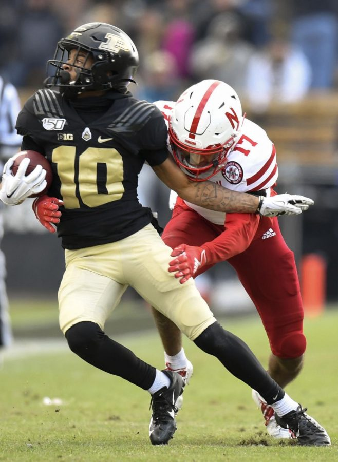 Nebraska+cornerback+Braxton+Clark+%2817%29+tackles+Purdue+wide+receiver+Amad+Anderson+during+the+first+half+in+November+2019+at+Ross-Ade+Stadium+in+West+Lafayette%2C+Ind.