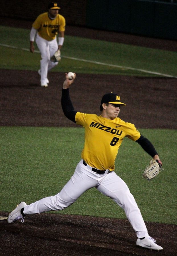 Missouri redshirt sophomore Seth Halvorsen pitches against Texas A&M on April 2 at Taylor Stadium in Columbia. Halvorsen is expected to start Friday's series opener at No. 18 Florida.