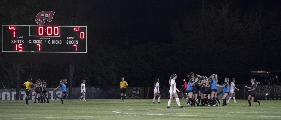 WKU celebrates the game winning goal by Katie Erwin (13) after the game against Charlotte on Friday, April 9, 2021.