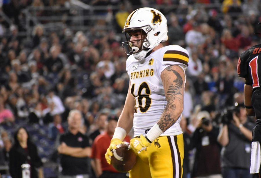 Wyoming+receiver+Gunner+Gentry+reacts+after+catching+a+pass+against+San+Diego+State+on+Oct.+12%2C+2019+at+SDCCU+Stadium+in+San+Diego%2C+Calif.