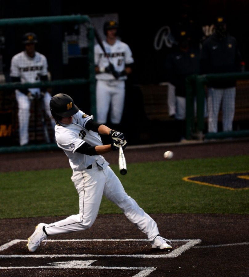 Missouri sophomore Ty Wilmsmeyer hits against Texas A&M on Thursday in Columbia. This was the only hit by Wilmsmeyer in the game, who went 1 for 3.