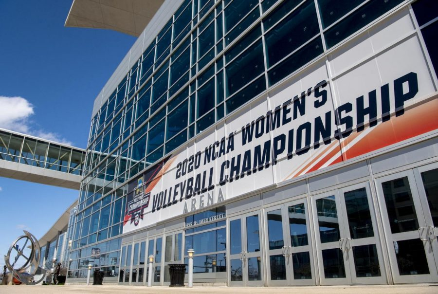 Signage+for+the+NCAA+women%27s+volleyball+tournament+adorns+the+exterior%C2%A0Tuesday+at+CHI+Health+Center+Omaha.