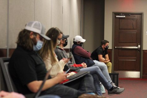 SGAs Executive Cabinet listen as a bill is presented at a meeting on March 16, 2021. 2. SGA holds a meeting in DSU on March 16, 2021. 3. Senators listen as Executive Reports are given during an SGA meeting on February 23, 2021.