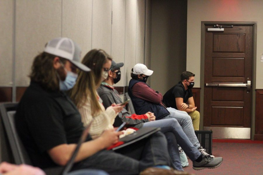 SGA's Executive Cabinet listen as a bill is presented at a meeting on March 16, 2021. 2. SGA holds a meeting in DSU on March 16, 2021. 3. Senators listen as Executive Reports are given during an SGA meeting on February 23, 2021.