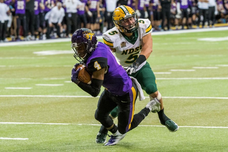 Northern Iowa receiver DeionMcShane catches a touchdown pass in a game against North Dakota State in 2018. The Panthers and Bison will square off Saturday inside the UNI-Dome at 4 p.m.
