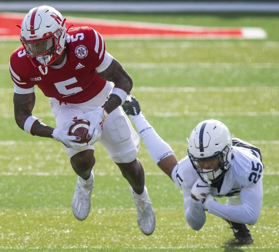 Nebraska%27s+Cam+Taylor-Britt+%285%29+runs+back+a+punt+as+he+avoids+the+tackle+of+Penn+State%27s+Daequan+Hardy+in+the+first+half+Nov.+14+at+Memorial+Stadium.