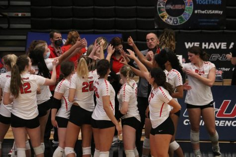 The WKU Volleyball program breaking it down prior to the C-USA Championship match against Rice on April 3, 2021. WKU would go on to win the match 3-1 to claim the championship.