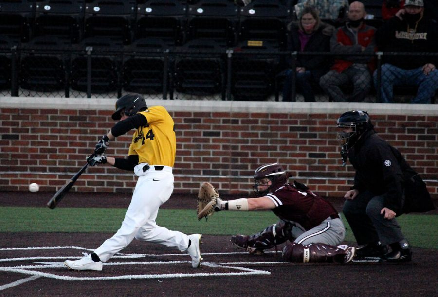 Missouri freshman Trevor Austin, hits the first home run of the game, giving MU an early advantage over Texas A&M, who had won the previous night 16-2, on Friday, at Taylor Stadium in Columbia. With this win the Tigers tied their series against the Aggies.