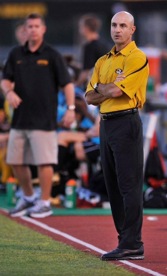 Missouri womens soccer coach Bryan Blitz stands on the sidelines on Sept. 17, 2010, during a game against Loyola at Walton Stadium. On Sunday, Blitz announced hed be retiring from his post as MUs coach.