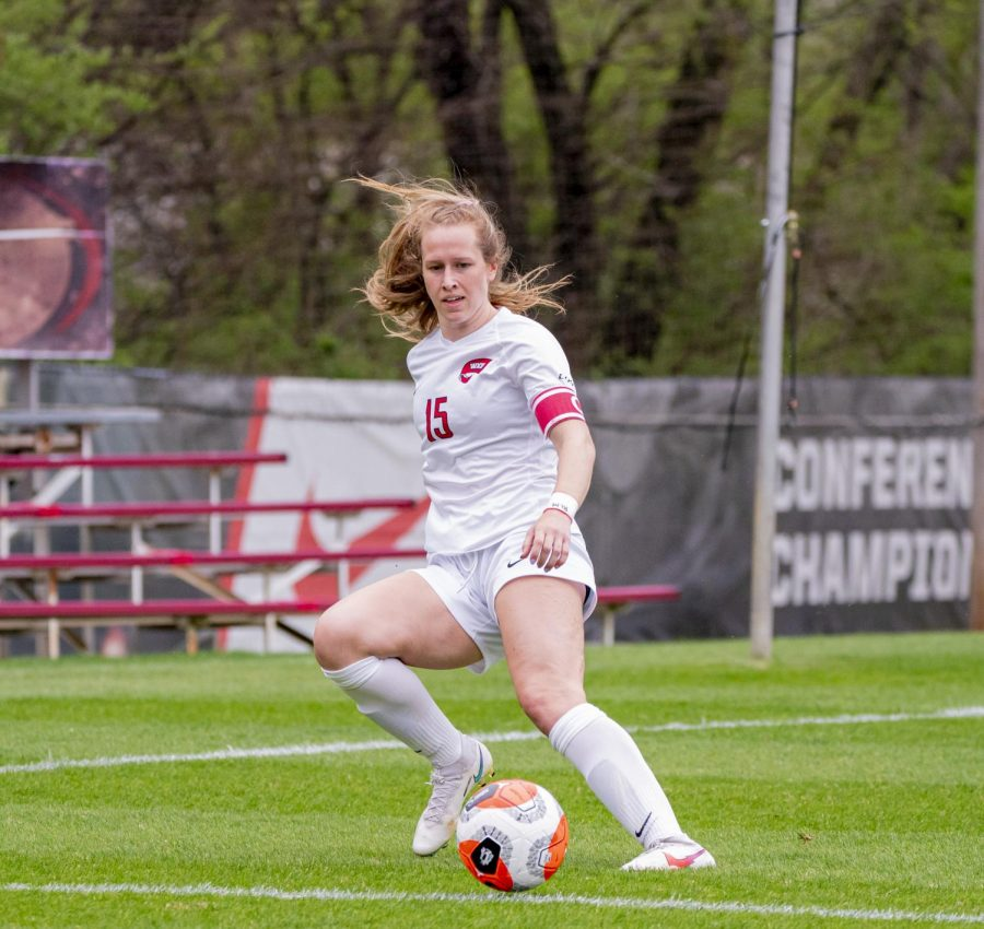 WKU+midfielder%2C+Ambere+Barnett+%2815%29+during+the+game+against+Louisville+on+Saturday%2C+March+27%2C+2021