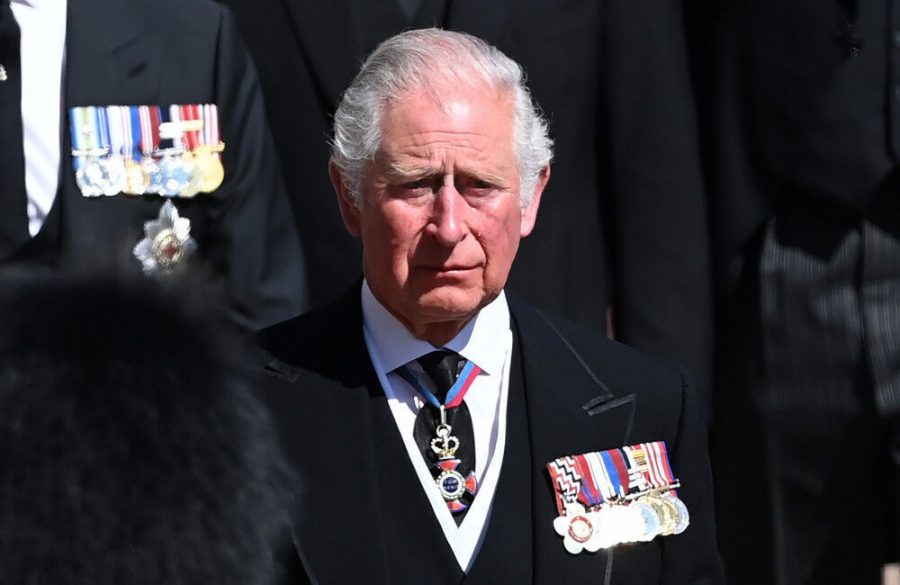 Prince Charles and Senior Royals sombre during Prince Philips funeral procession