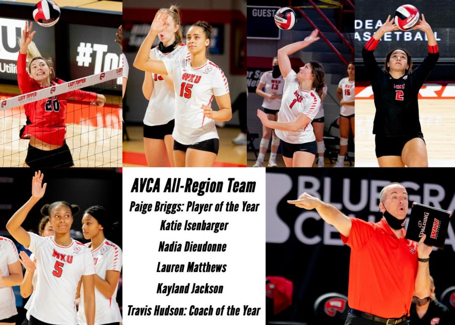 Six members of the WKU volleyball program were awarded American Volleyball Coaches Association South All-Region accolades on April 13, 2021 prior to the first round of the NCAA Tournament.