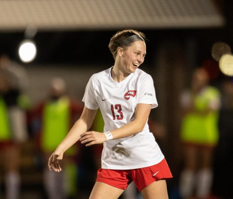 WKU women's soccer player Katie Erwin (13) shows off a big smile as WKU would go on to beat FIU women's soccer four to three during their game on March 4, 2021.
