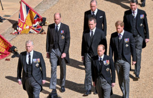 WINDSOR, ENGLAND - APRIL 17: (L-R) Prince Andrew, Duke of York, Prince William, Duke of Cambridge, Earl of Snowdon David Armstrong-Jones, Peter Phillips, Prince Edward, Earl of Wessex, Prince Harry, Duke of Sussex and Vice-Admiral Sir Timothy Laurence during the funeral of Prince Philip, Duke of Edinburgh on April 17, 2021 in Windsor, England. Prince Philip of Greece and Denmark was born 10 June 1921, in Greece. He served in the British Royal Navy and fought in WWII. He married the then Princess Elizabeth on 20 November 1947 and was created Duke of Edinburgh, Earl of Merioneth, and Baron Greenwich by King VI. He served as Prince Consort to Queen Elizabeth II until his death on April 9 2021, months short of his 100th birthday. His funeral takes place today at Windsor Castle with only 30 guests invited due to Coronavirus pandemic restrictions. (Photo by Samir Hussein - Pool/Wireimage)