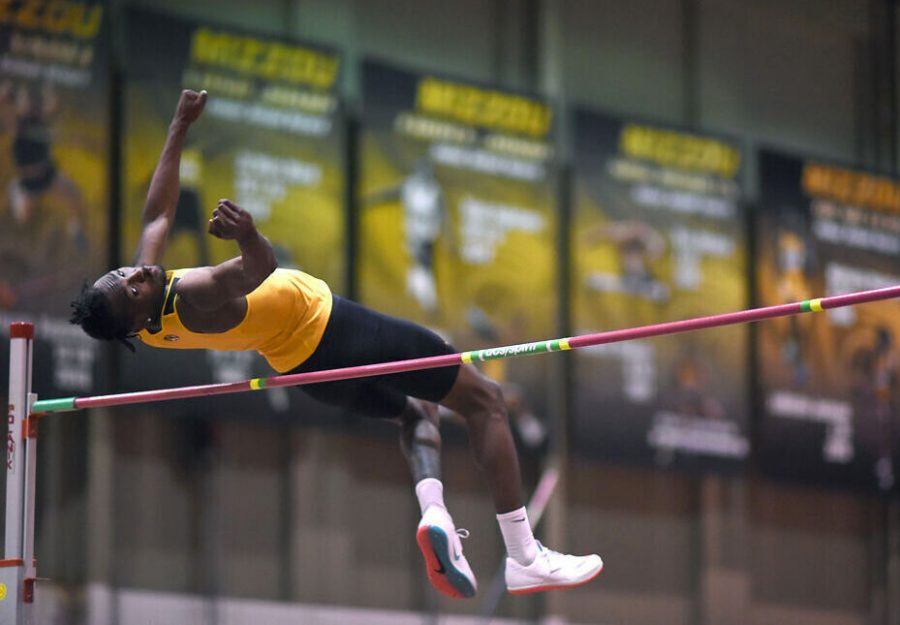 Missouri freshman DaJuan Young clears the high jump bar at the Tom Botts Invitational on Saturday at the Hearnes Center in Columbia. Young finished in fourth place.