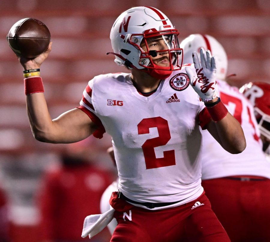 Nebraska%27s+Adrian+Martinez+looks+to+connect+with+a+receiver+against+Rutgers+on+Dec.+18+in+Piscataway%2C+New+Jersey.+In+last+season%27s+final+four+games%2C+Martinez+completed+67.6%25+of+his+passes+for+195.5+yards+per+game.