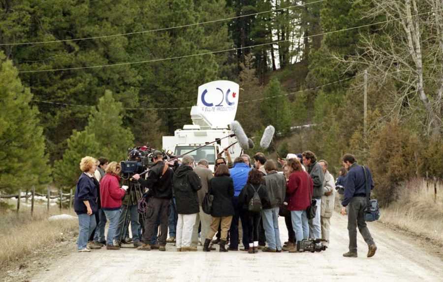 A throng of media congregate on Stemple Pass Road a few days after Theodore Kaczynskis arrest in April 1996.