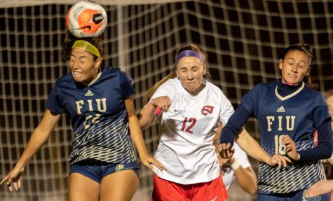 Senior captain Avery Jacobsen prepares for a header against FIU on March 4, 2021. WKU went on to defeat the Panthers 4-3.