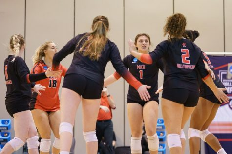The Hilltoppers meeting between serves in the Sweet Sixteen of the NCAA Tournament on April 18, 2021. WKU fell in three sets to No. 2 Kentucky.