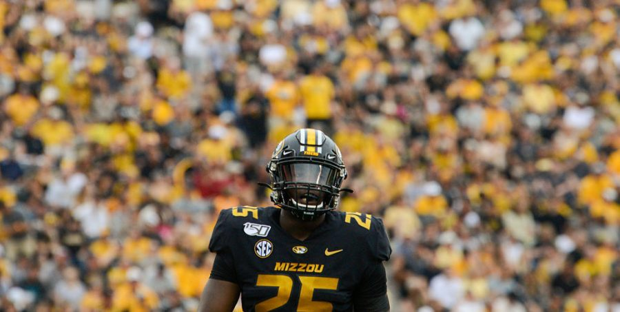 Former Missouri linebacker Jamal Brooks waits for a defensive play call in Missouri's game against South Carolina on Sept. 21, 2019, at Faurot Field in Columbia. Brooks announced via Twitter on Monday that he was leaving the Tigers' program.