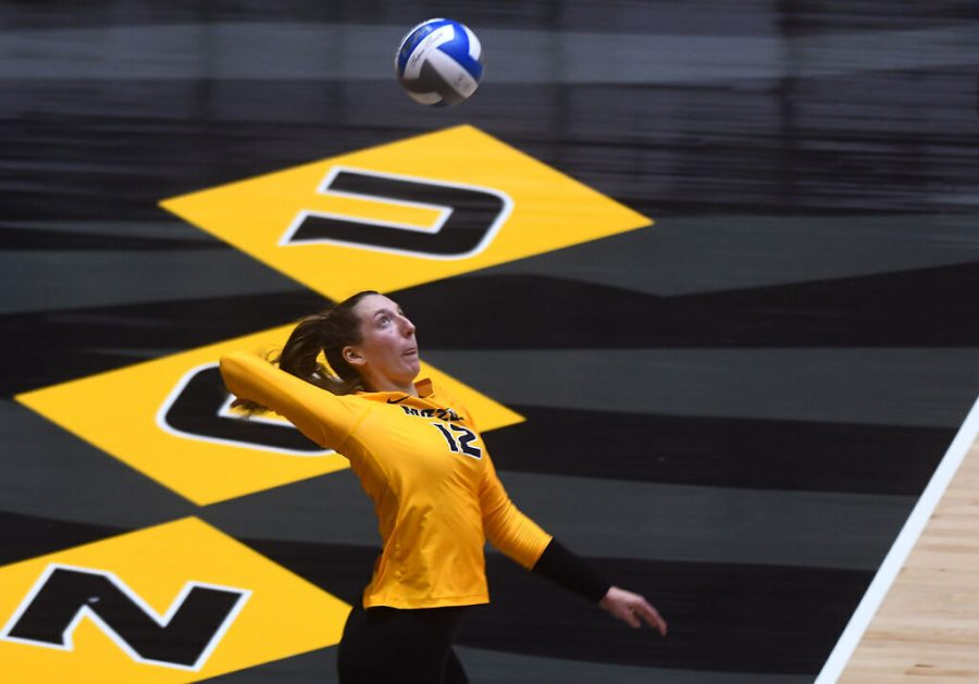 Missouri senior Kylie Deberg serves the ball to LSU on Jan. 29 at Hearnes Center in Columbia. Deberg lead the SEC in kills and is the Tigers main offensive threat this postseason.