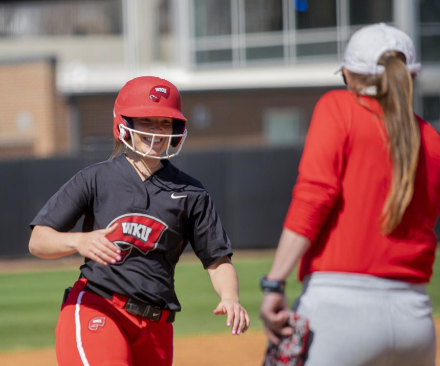 WKU+infielder%2C+Taylor+Sanders+%2815%29+rounding+third+base+after+hitting+a+homerun+during+a+game+against+UAB+Saturday%2C+March+20%2C+2021.