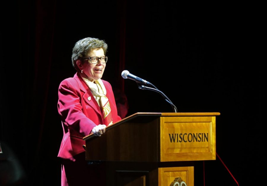 UW-Madison Chancellor Rebecca Blank speaks during Tuesdays event announcing the retirement of athletic director Barry Alvarez at the Kohl Center.