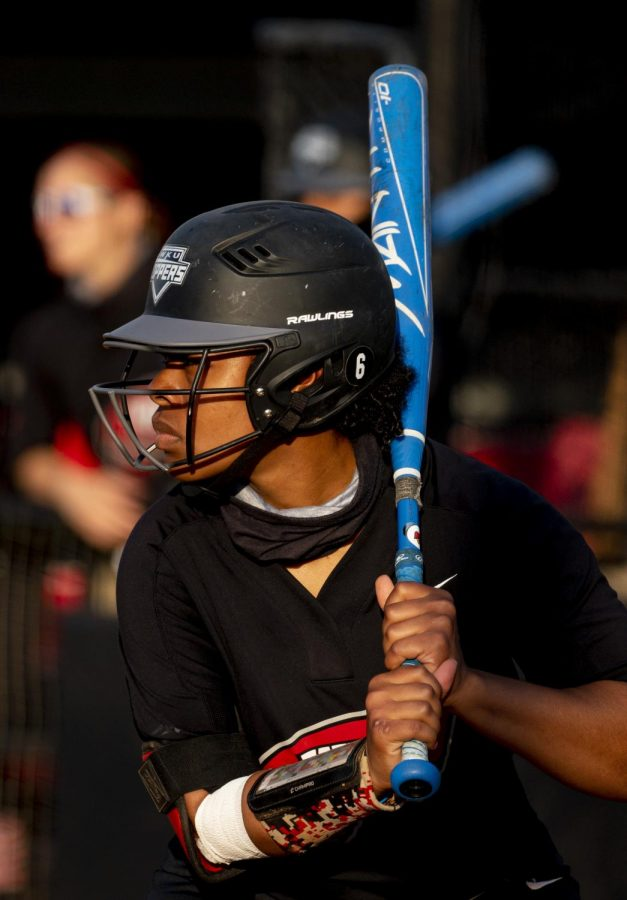 WKU outfielder, Taylor Davis (6) waits for a pitch during the game against Eastern Kentucky on Wednesday, April 7, 2021.