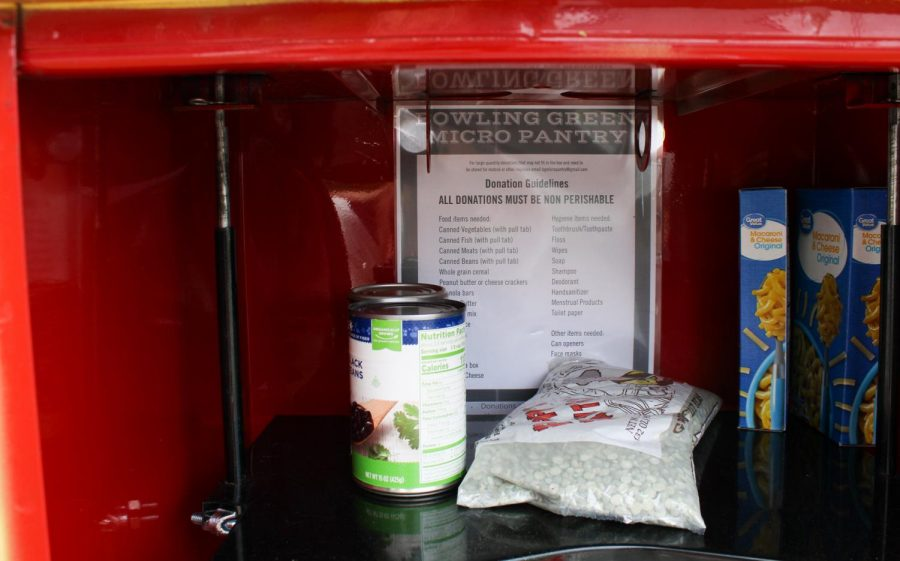 One of three micro pantries in an old newspaper vending machine that was donated by the Bowling Green Daily News. This micropantry is located at 958 Collett Avenue, across from International Center of Kentucky.