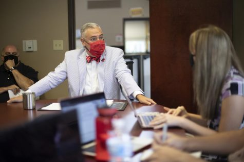 President Timothy Caboni responds to questions posed by the College Heights Herald editorial board in morning meeting on Aug. 20, 2021.