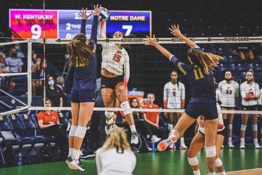 WKU fifth year right side Kayland Jackson goes up over the net against Notre Dame on Aug. 27, 2021 in South Bend, Indiana.