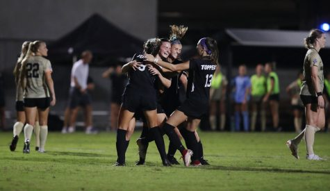 Western Kentucky University Lady Toppers celebrate after Brina Micheels scores the winning goal on a penalty kick against the Vanderbilt Commodores on Thursday Aug. 26, 2021. The Lady Toppers defeated Vanderbilt 3-2.
