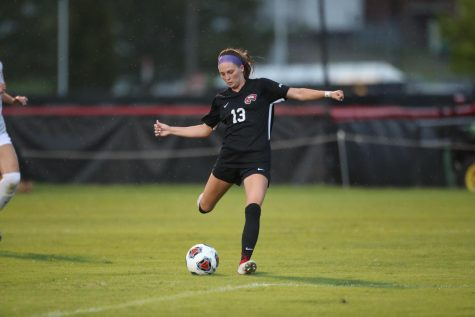 Junior forward Katie Erwin lines up a kick during her five-point performance against Union University on Aug. 21, 2021 at the WKU Soccer complex.