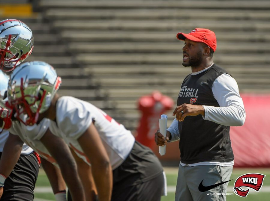 WKU+Hilltoppers+defensive+coordinator+Maurice+Crum+during+day+10+fall+camp+at+Houchens+Industries-L.T.+Smith+Stadium+on+August+13%2C+2021+in+Bowling+Green%2C+KY