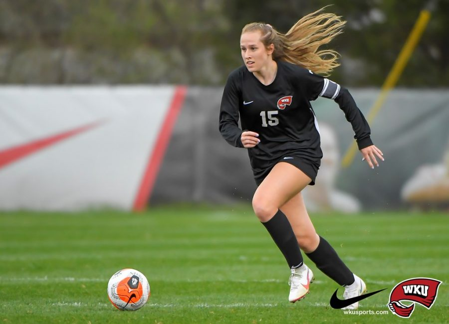 Ambere Barnett, Marshall Thundering Herd at WKU Hilltoppers on March 18, 2021 at WKU Soccer Complex in Bowling Green, KY