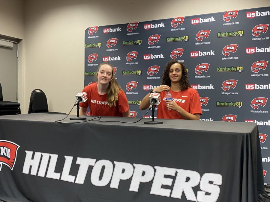 WKU+Volleyball+fifth+years+Hallie+Shelton+%28left%29+and+Kayland+Jackson+%28right%29+address+the+media+during+media+day+on+Aug.+23%2C+2021.