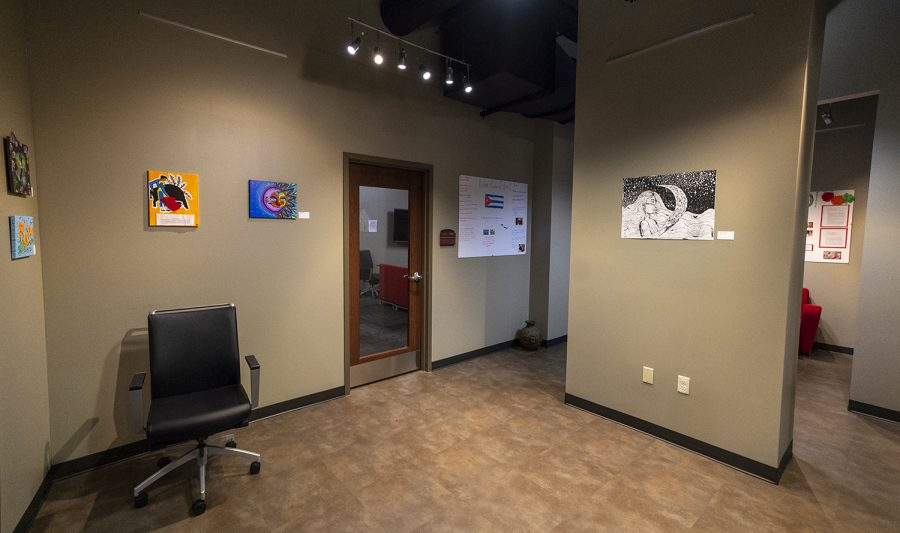 The Latin American Heritage Exhibit in Downing Student Union features posters on Latin American countries and art work made by Latin American WKU students.